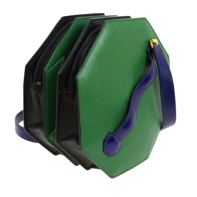 Hermes Black Green Blue Leather 2 in 1 Small Mini Top Handle Satchel Shoulder Accordion Bag  Leather Gold tone hardware Leather lining Zipper closure Made in France Top handle drop 1.25