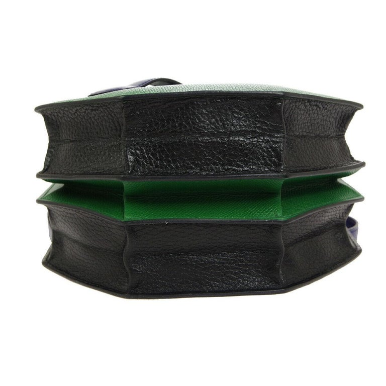 Hermes Black Green Blue Leather 2 in 1 Top Handle Satchel Shoulder Accordion Bag In Good Condition For Sale In Chicago, IL