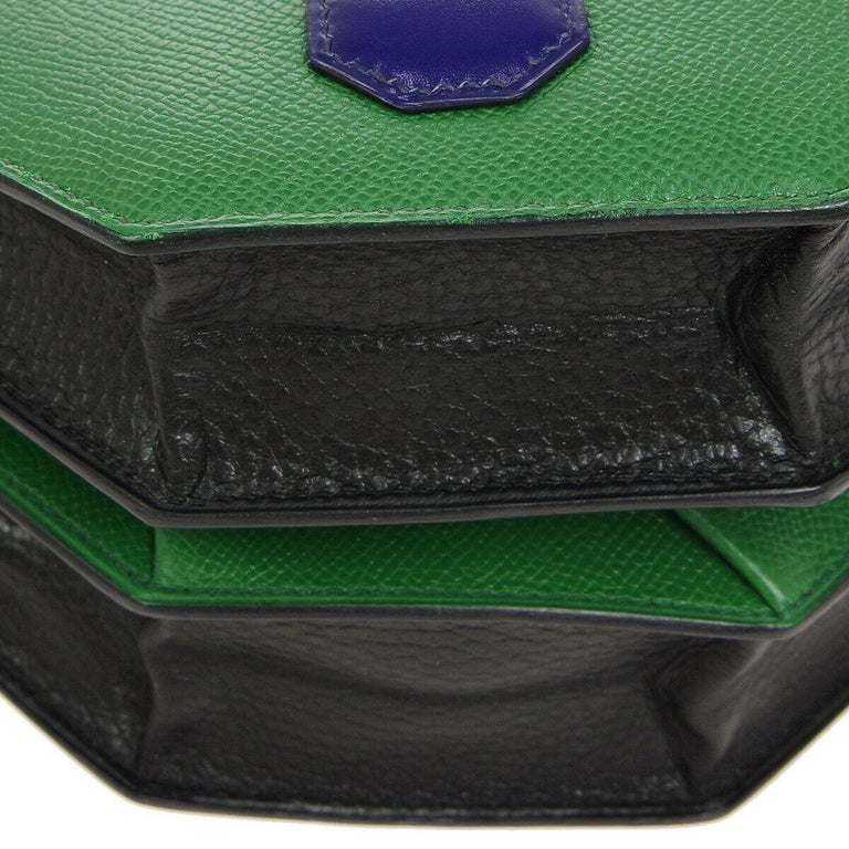 Women's Hermes Black Green Blue Leather 2 in 1 Top Handle Satchel Shoulder Accordion Bag For Sale