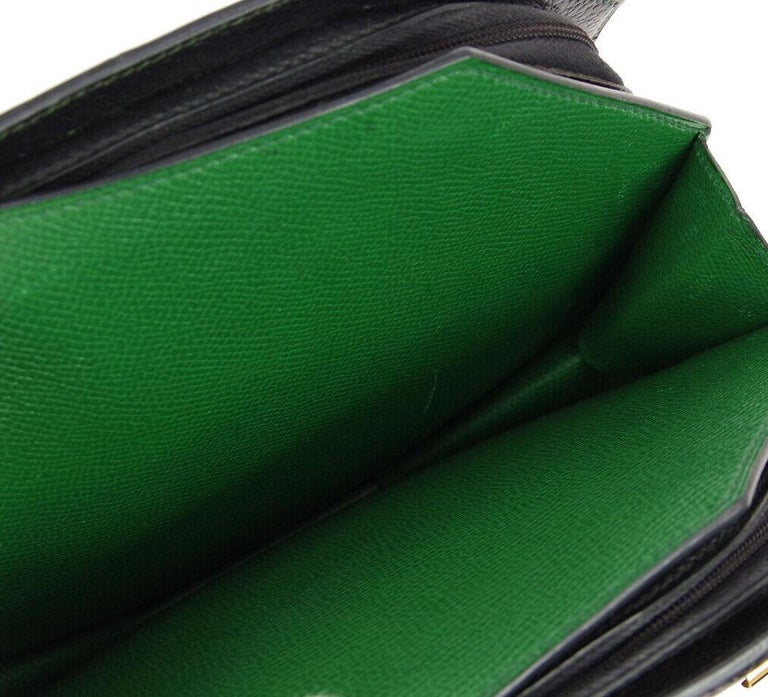 Hermes Black Green Blue Leather 2 in 1 Top Handle Satchel Shoulder Accordion Bag For Sale 1