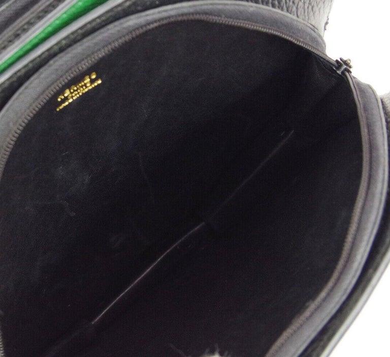 Hermes Black Green Blue Leather 2 in 1 Top Handle Satchel Shoulder Accordion Bag For Sale 2
