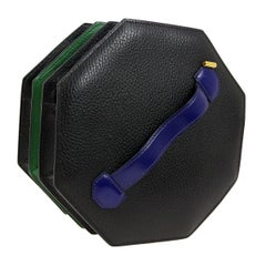 Hermes Black Green Blue Leather 2 in 1 Top Handle Satchel Shoulder Accordion Bag