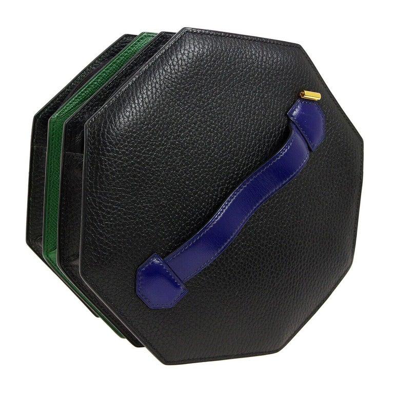 Hermes Black Green Blue Leather 2 in 1 Top Handle Satchel Shoulder Accordion Bag For Sale