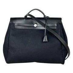 Hermès Black Herbag 39 Canvas Shoulder Bag