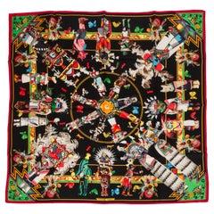 Hermès Black Kachinas Tribal Silk Scarf