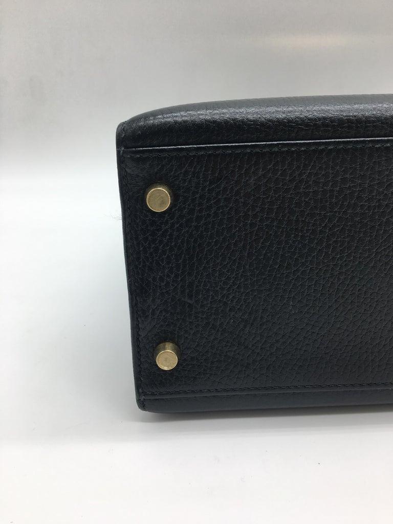 Hermes Black Kelly 32cm in Evergrain For Sale 4