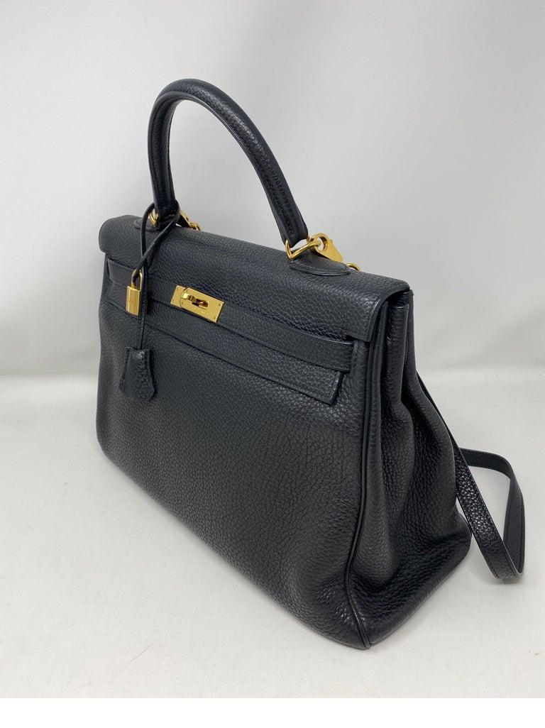 Hermes Black Kelly 35 Togo Bag  For Sale 8