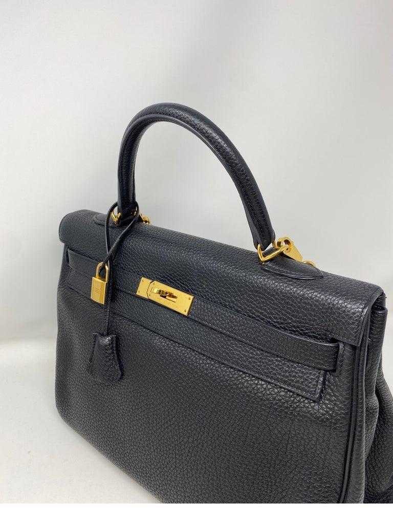 Hermes Black Kelly 35 Togo Bag  For Sale 9