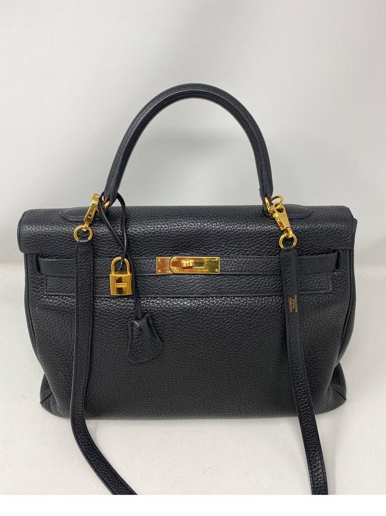 Hermes Black Kelly 35 Togo Bag  For Sale 11