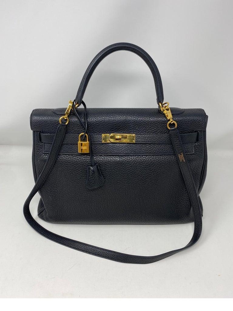 Hermes Black Kelly 35 Togo Bag  For Sale 12