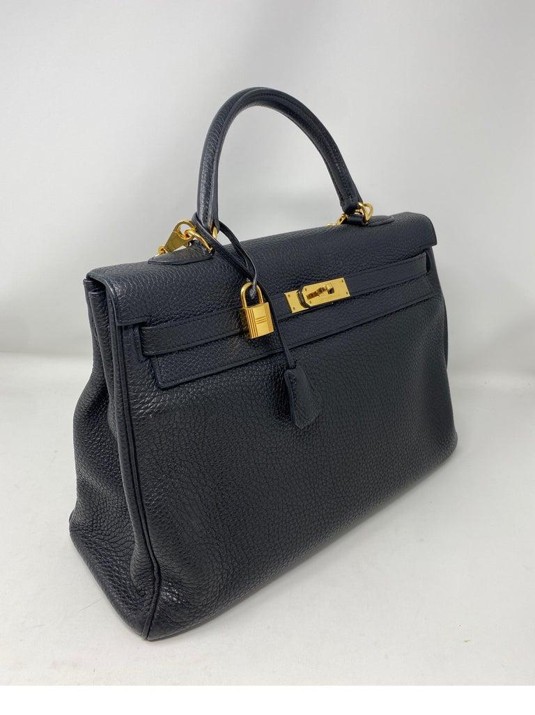 Women's or Men's Hermes Black Kelly 35 Togo Bag  For Sale