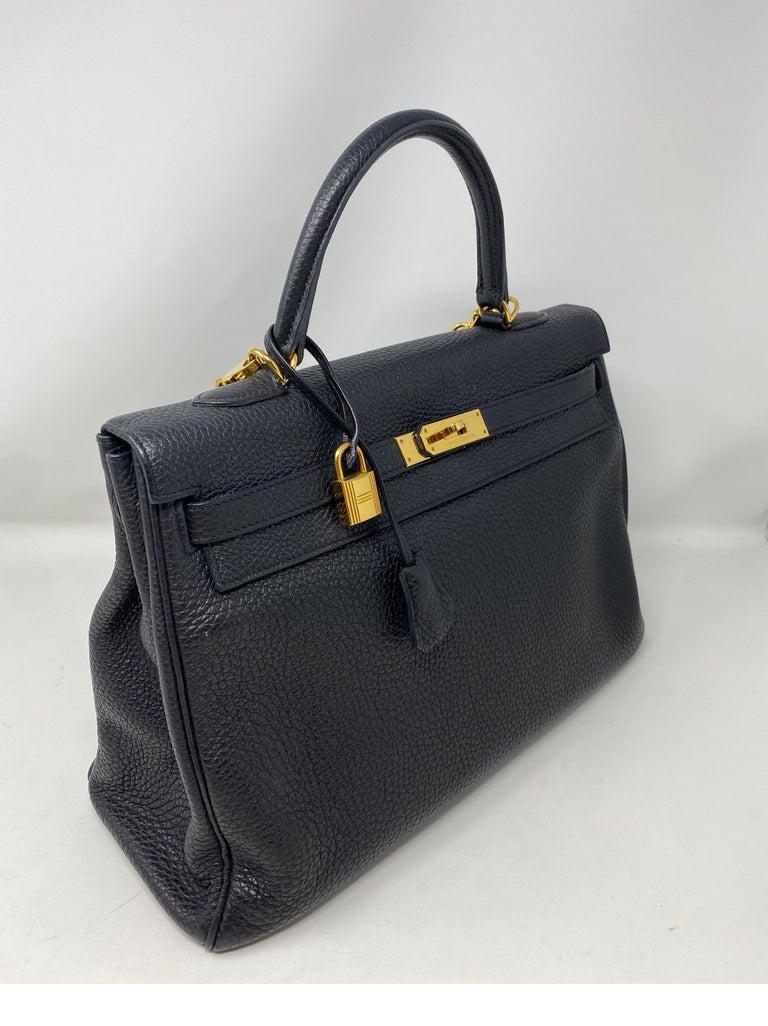 Hermes Black Kelly 35 Togo Bag  For Sale 1