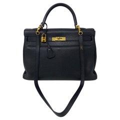 Hermes Black Kelly 35 Togo Bag