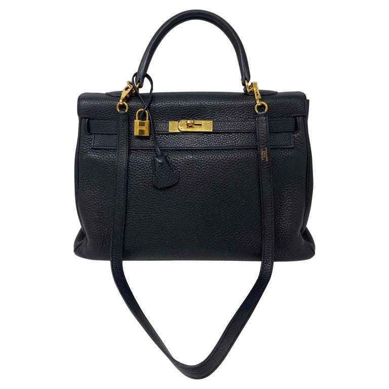 Hermes Black Kelly 35 Togo Bag  For Sale