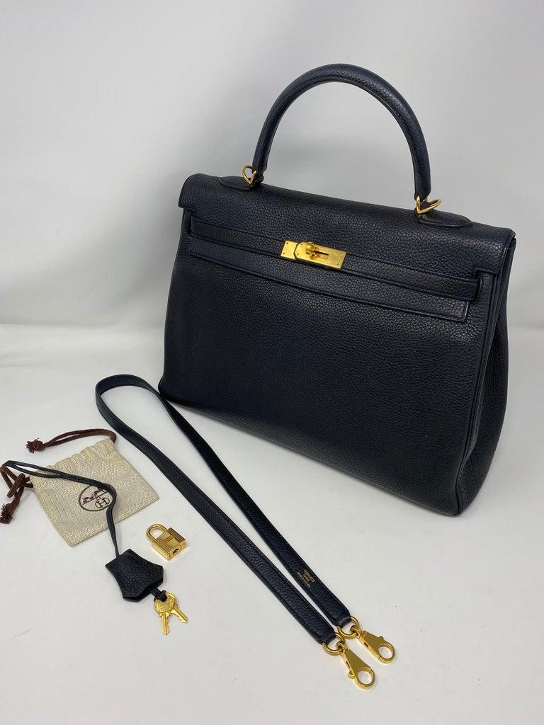 Hermès Black Kelly 35 with Gold Hardware 6
