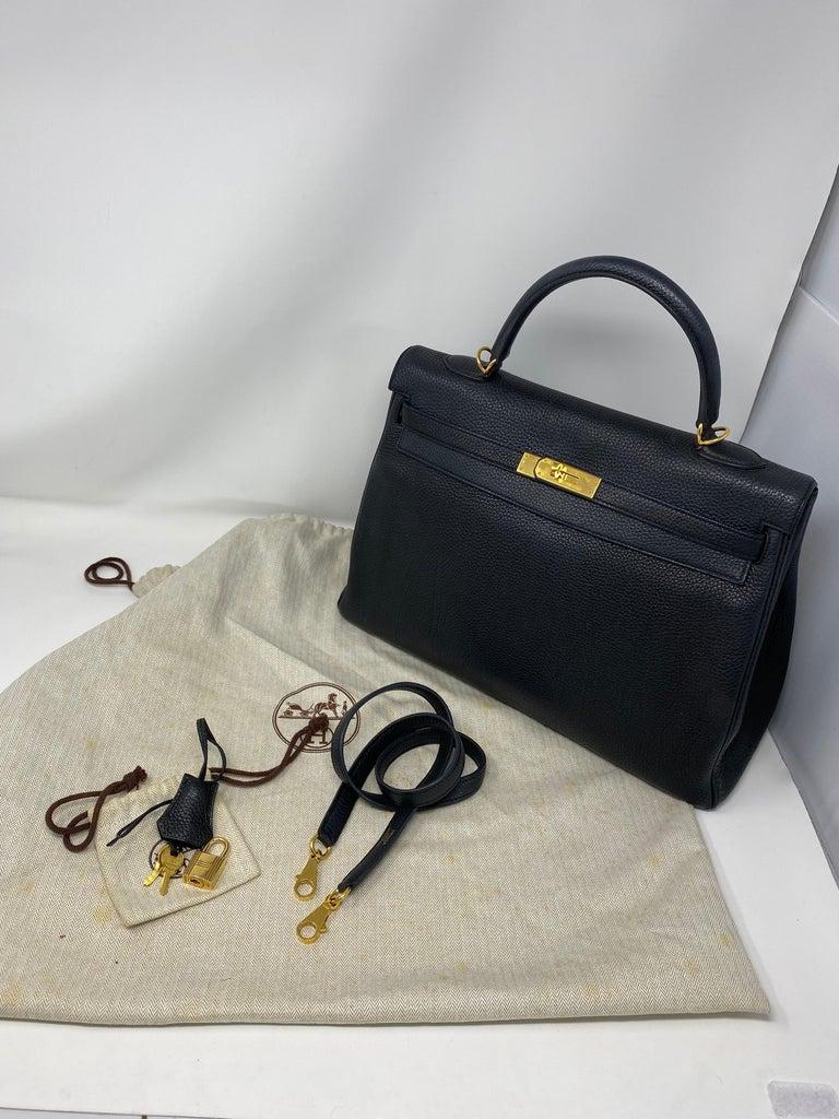 Hermès Black Kelly 35 with Gold Hardware 5