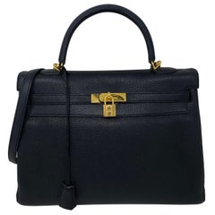 Hermès Black Kelly 35 with Gold Hardware