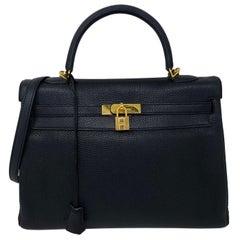 Hermès Black Kelly 35 with Gold Hardware