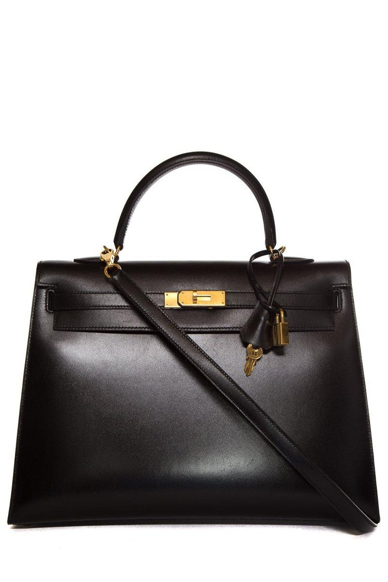 HERMÈS  Black Kelly 35cm Sellier Swift Leather Handle Bag $15,995.95 In Good Condition For Sale In Scottsdale, AZ