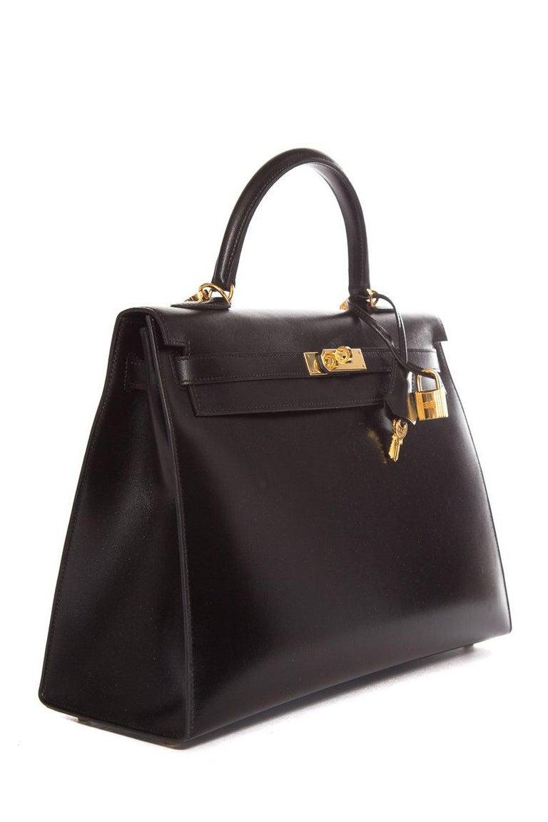 Women's HERMÈS  Black Kelly 35cm Sellier Swift Leather Handle Bag $15,995.95 For Sale