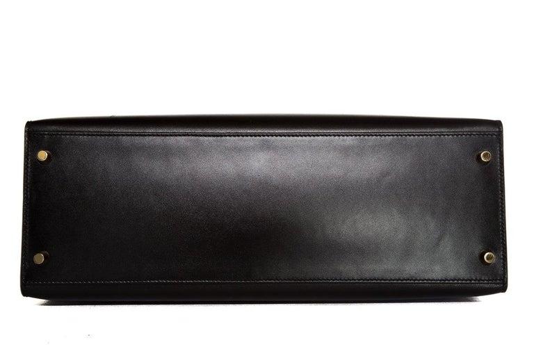 HERMÈS  Black Kelly 35cm Sellier Swift Leather Handle Bag $15,995.95 For Sale 2