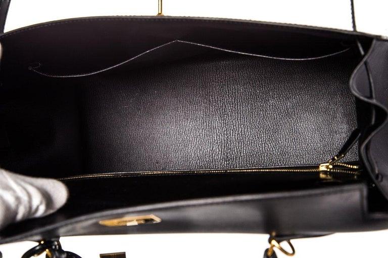 HERMÈS  Black Kelly 35cm Sellier Swift Leather Handle Bag $15,995.95 For Sale 3