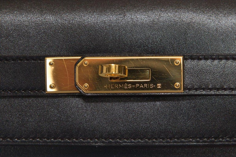 HERMÈS  Black Kelly 35cm Sellier Swift Leather Handle Bag $15,995.95 For Sale 4