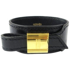 Hermes Black Kelly Cadena Gold Men's Women's Evening Cuff Bracelet in Box