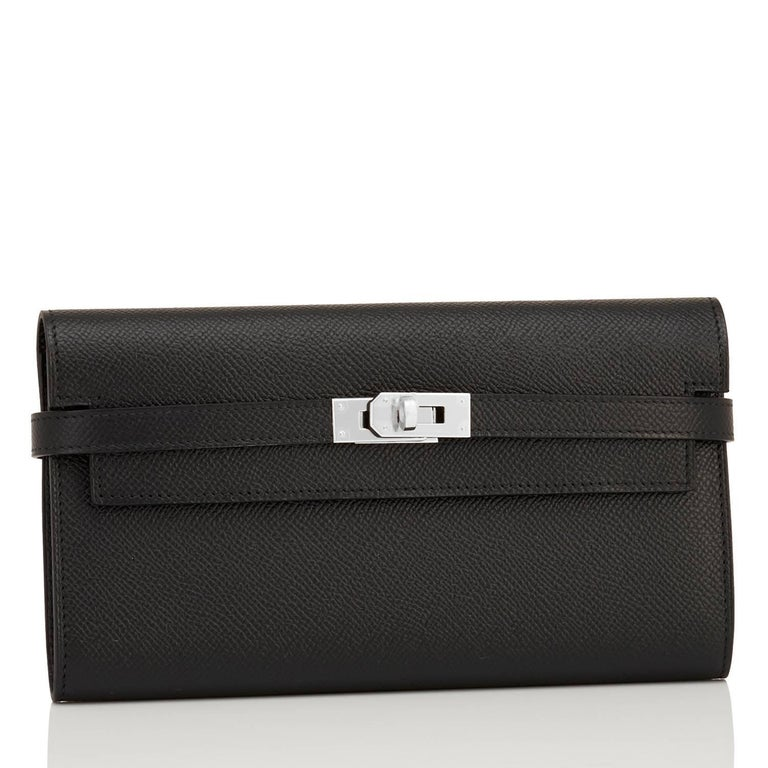 Hermes Black Kelly Long Wallet Epsom Palladium Hardware A Stamp Brand New in Box.  Store Fresh. Pristine Condition (with plastic on hardware) Just purchased from Hermes store; piece bears new 2019 interior D stamp. Perfect gift! Comes with orange