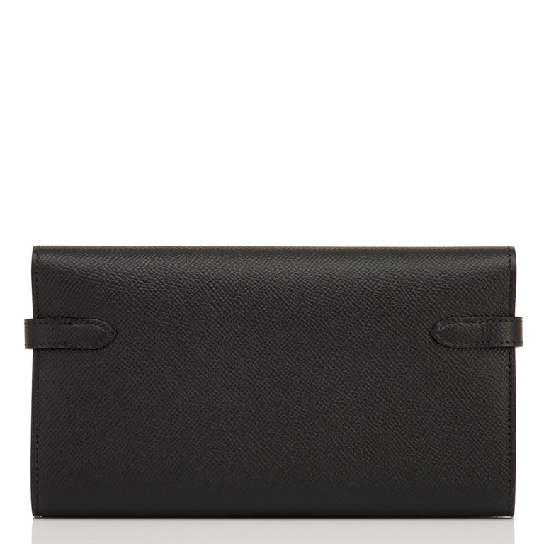 Hermes Black Kelly Wallet Long Epsom Palladium Hardware  In New Condition For Sale In New York, NY