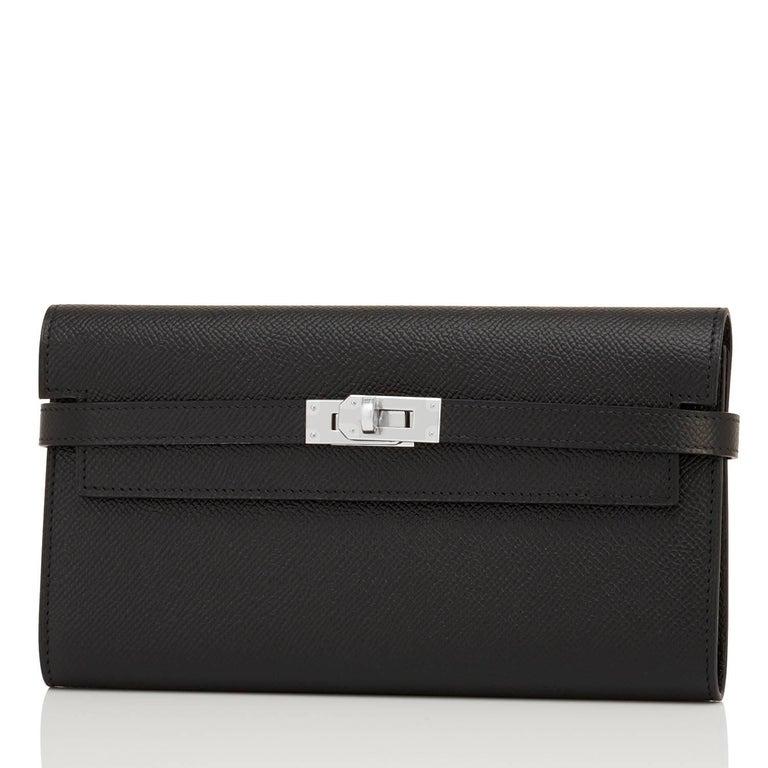 Women's or Men's Hermes Black Kelly Wallet Long Epsom Palladium Hardware  For Sale