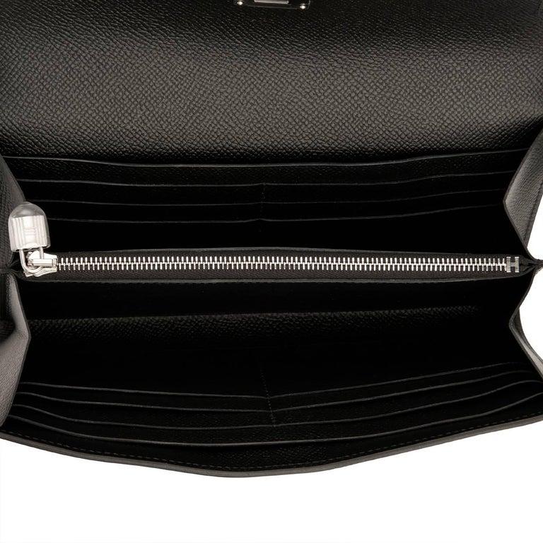 Hermes Black Kelly Wallet Long Epsom Palladium Hardware  For Sale 2