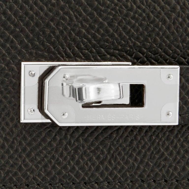 Hermes Black Kelly Wallet Long Epsom Palladium Hardware  For Sale 3