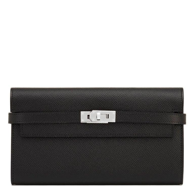 Hermes Black Kelly Wallet Long Epsom Palladium Hardware  For Sale 4