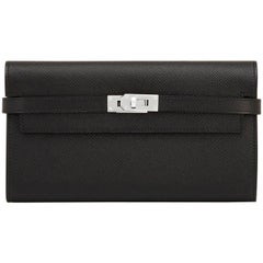 Hermes Black Kelly Wallet Long Epsom Palladium Hardware
