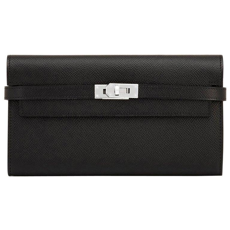 Hermes Black Kelly Wallet Long Epsom Palladium Hardware  For Sale