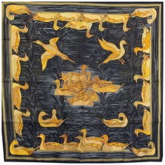 Hermes black LA MARE AUX CANARDS 90 silk twill Scarf
