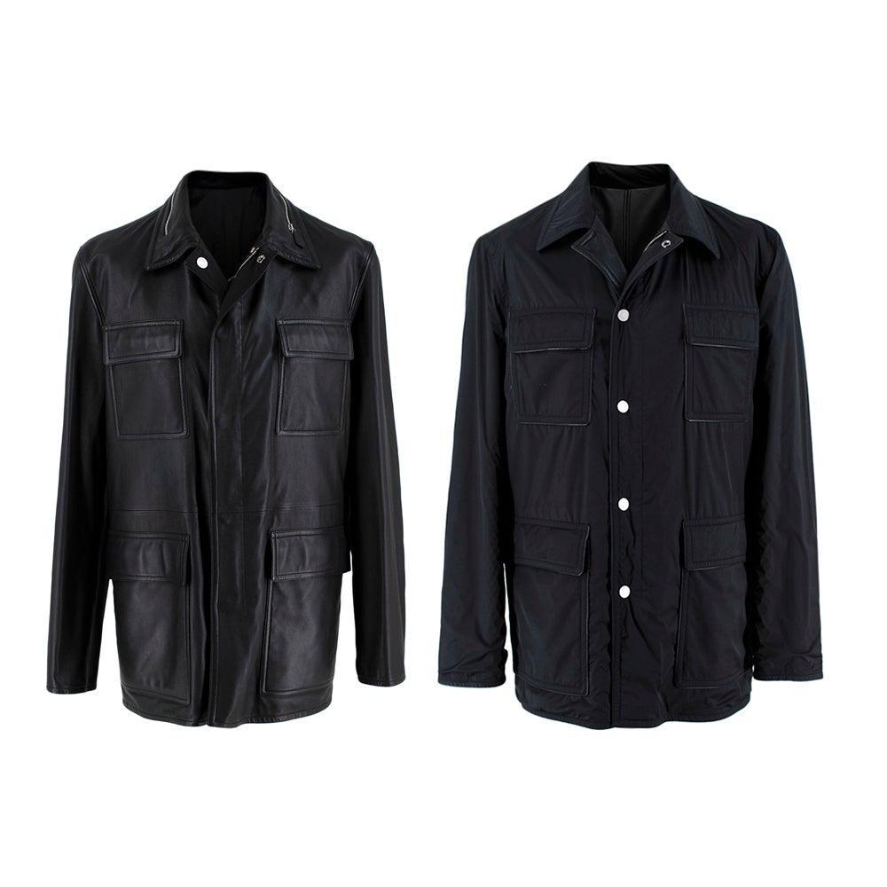 Hermes Black Lambskin and Nylon Reversible Jacket - Size M/L