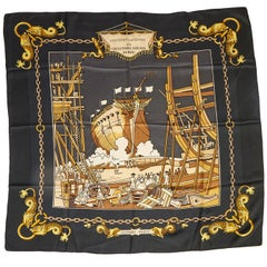 Hermes Black Lancement Silk Scarf
