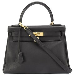Hermes Black Leather 28cm Kelly Bag