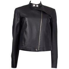 HERMES black leather Band Collar Quilted Shoulder BIKER Jacket 38 S