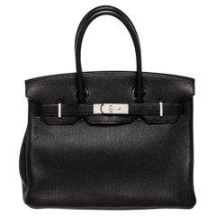 Hermes Black Leather Birkin 30cm Satchel Bag