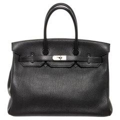 Hermes Black Leather Birkin 35cm Satchel Bag