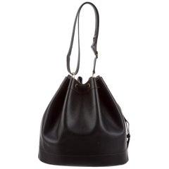 Hermes Black Leather Bucket Drawstring Carryall Shoulder Bag