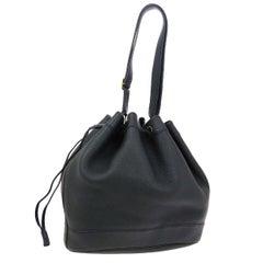 Hermes Black Leather Bucket Gold Drawstring Carryall Shoulder Bag