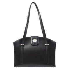 Hermes Black Leather Clock Top Handle Satchel Shoulder Tote Carryall Bag