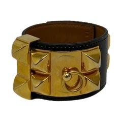 Hermès Black Leather Collier de chien Bracelet