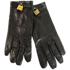 Hermes Black Leather Constance/Kelly Charm Gloves sz 7.5