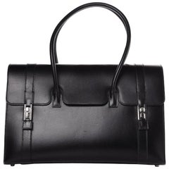 Hermes Black Leather Drag Silver Buckle Top Handle Satchel Flap Bag