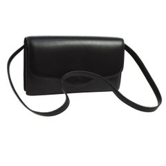 Hermes Black Leather Evening 2 in 1 Clutch Shoulder Flap Bag